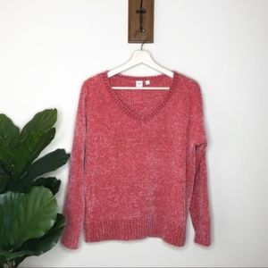 GAP coral v neck chenille sweater
